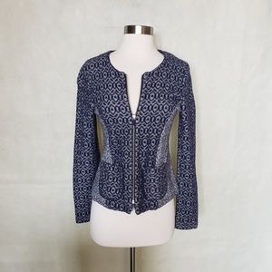 ANTHROPOLOGIE geo diamond fitted zip up jacket